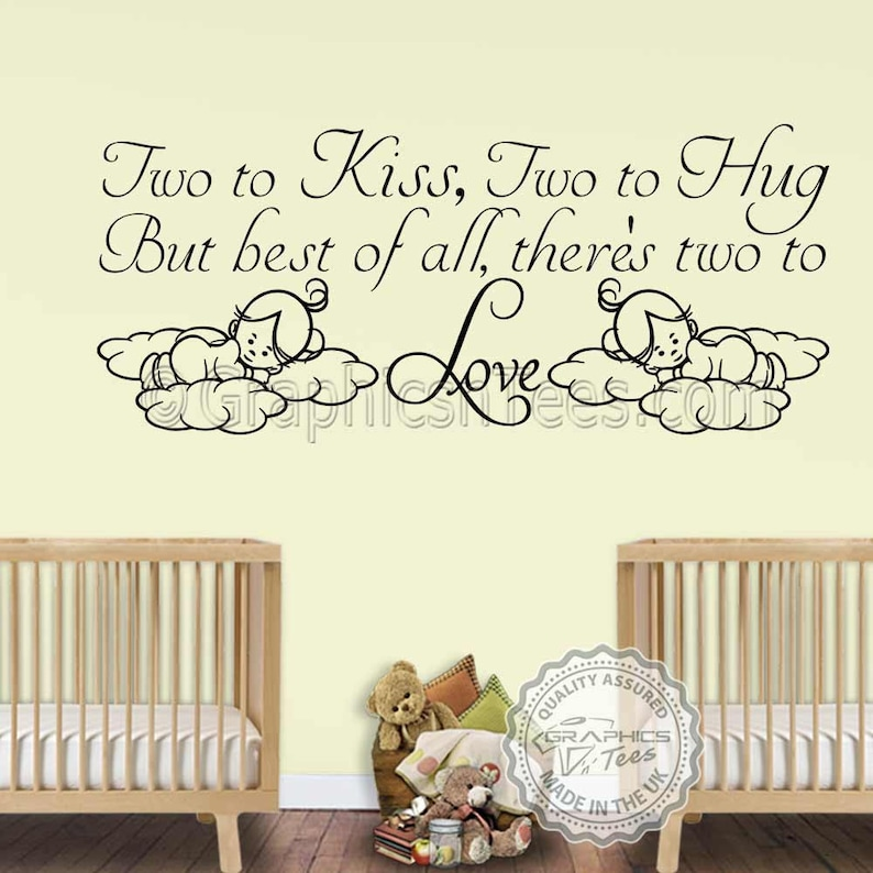 nursery wall sticker for twins baby boys girls two to love | etsy