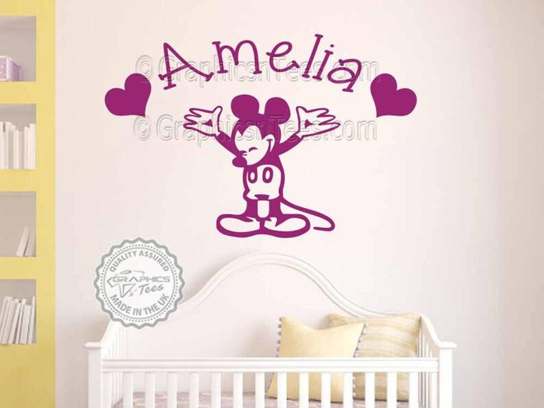 Personalisierte Mickey Mouse Wandtattoo, Baby Junge Mädchen Kinderzimmer  Schlafzimmerwand personalisierte Dekor Aufkleber