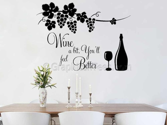 kitchen wall sticker quote wine a bit dining room home wall | etsy