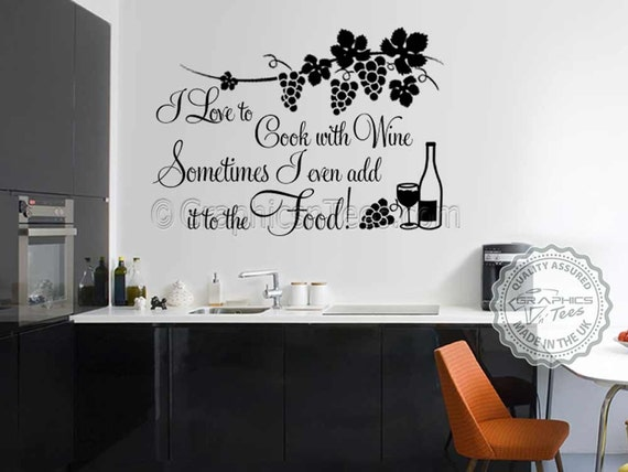 kitchen wall sticker cook with wine funny kitchen cooking | etsy