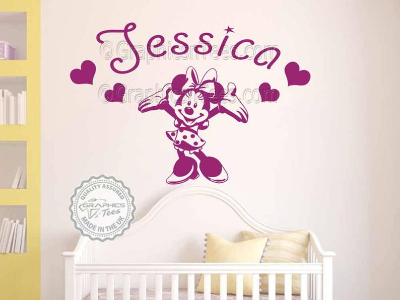 personalised minnie mouse wall sticker baby boy girl nursery   etsy