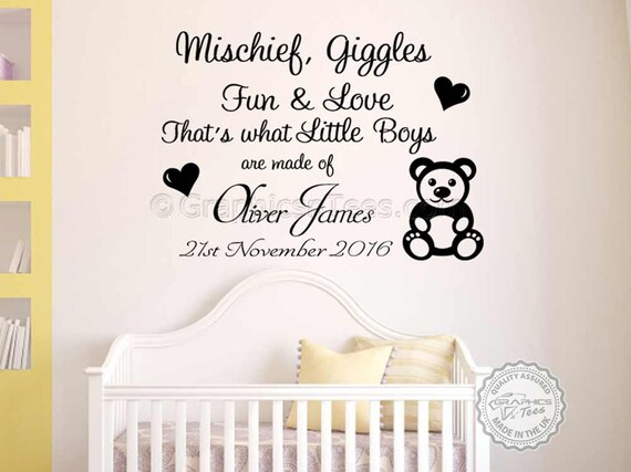 personalised nursery wall sticker mischief giggles that's   etsy
