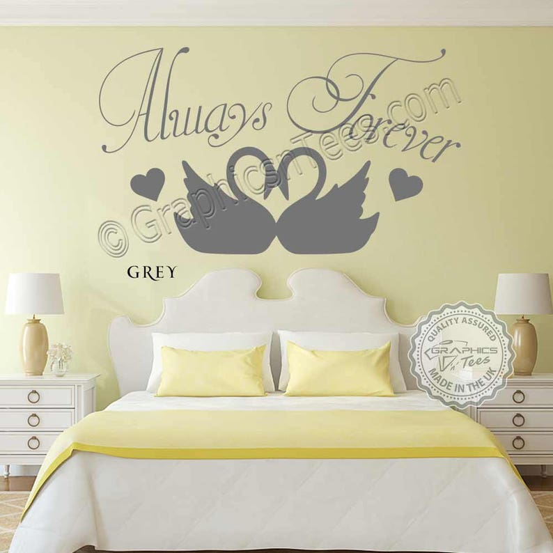 Always Forever Romantic Bedroom Wall Sticker Love Quote Wall Decor Decal With Swans Home Decor Home Living Kromasol Com