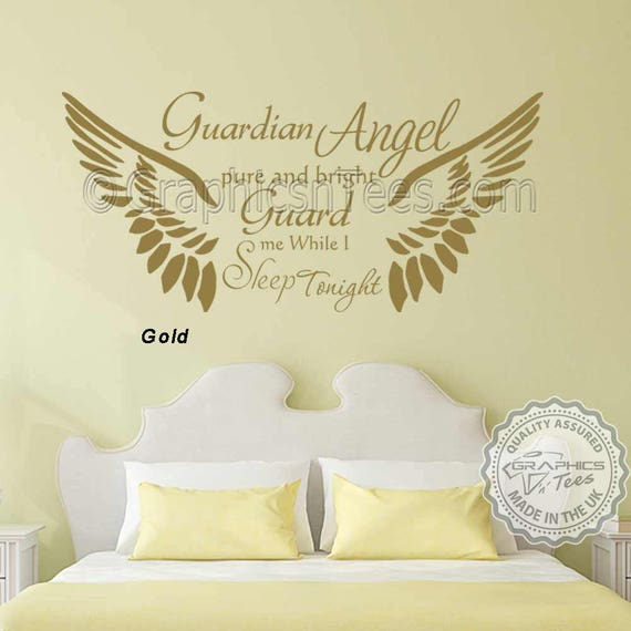 with Cherubs Guardian Angel Nursery Wall Sticker Quote Childrens Bedroom Decor