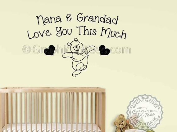 Kinderzimmer Wand Zitat, Winnie The Pooh Wandtattoo, Nana & Opa liebe dich  Zitat, Baby Junge Mädchen Schlafzimmer Wandtattoo