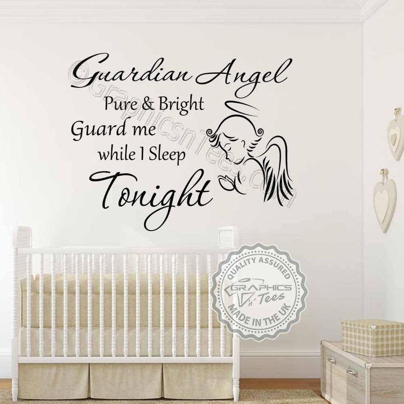 guardian angel nursery wall sticker baby boy girls bedroom | etsy