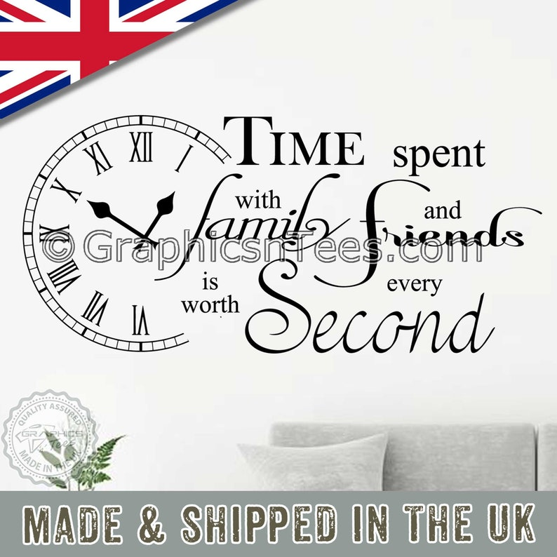 Time Spend With Family Wall Decal Inspiration Quote Vinyl Home Room Mural Decor