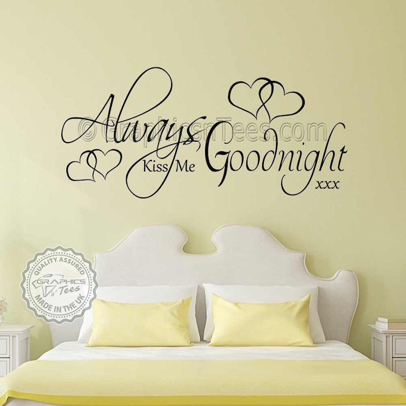 always kiss me goodnight romantic bedroom wall stickers love | etsy