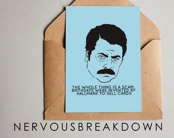 Ron Swanson Birthday Card - PRINTABLE CARD