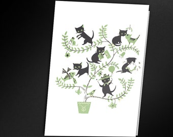 Cute Retro Kittens Card - Printable