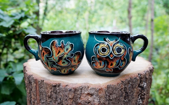 Ceramic mug for wife Set of 2 Owls mug Hand painted mugs Gift for girlfriend Gift for her Gift ideas Espresso cups Coffee mugs Tea mugs
