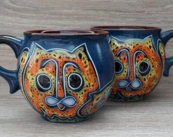 Handmade coffee mug set 6.5 oz blue coffee mug with cats Engraved and painted mug handmade gift for cat lovers