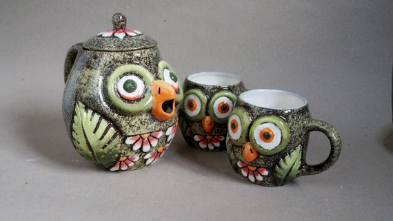 ceramic teapot with 2 mug owls drinking cups children mug owl bird mug cute cup pottery tea pot set kitchen gift set gift for kids
