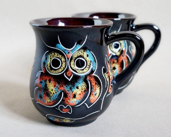women gifts coffee mug ceramic set for 2 9.5 oz pottery owl mug wife gift on wedding day