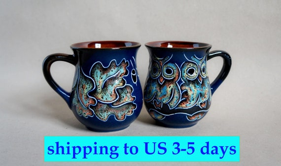 navy blue ceramic mug owls rustic pottery coffee cup 9.5 oz easter gifts for mom gift for brides