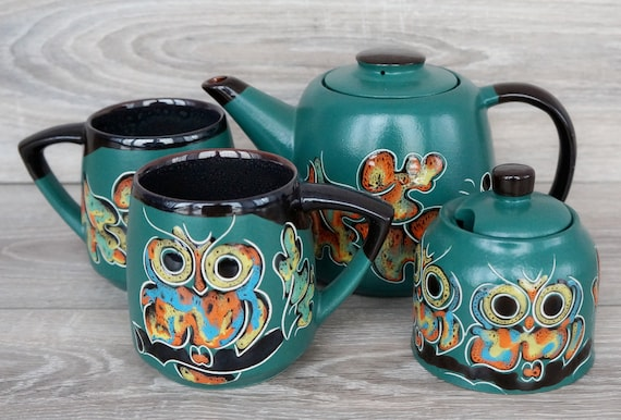 Owl lover gift Green tea set ceramic Teapot with sugar bowl and two mugs 14 oz Hand painted tea set pottery