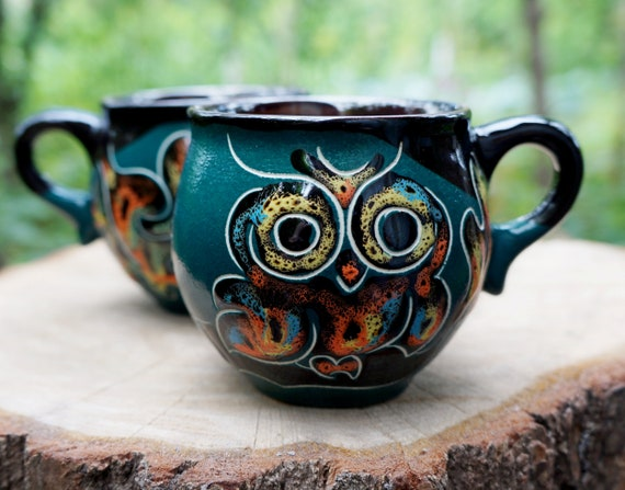 owl ceramic coffee mug for wife set of 2 owls mug hand painted mug pottery xmas gift for girlfriend gift for her gift ideas espresso cup