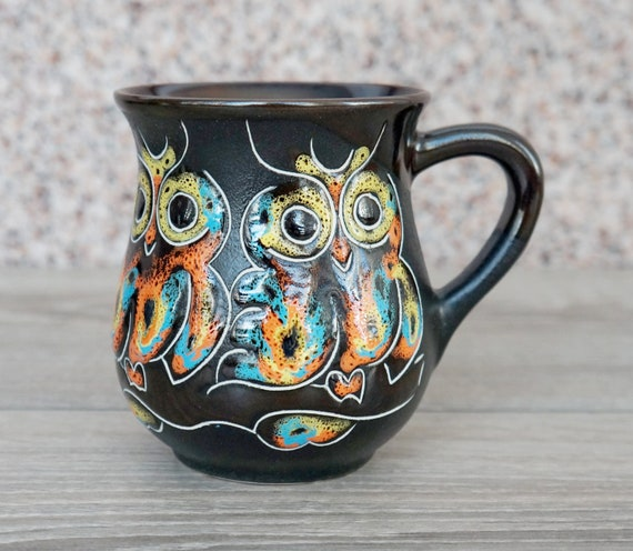 Owl gifts for friend moving away owl hand painted ceramic coffee mug pottery 9.5 oz forest mug owl decor