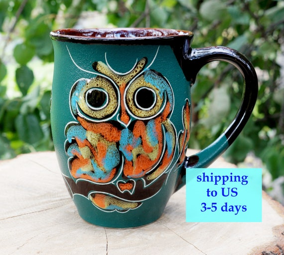 ceramic mug owl large coffee mug for women coffee cup mom gift green owls mug oak leaves stoneware mug ceramastudio
