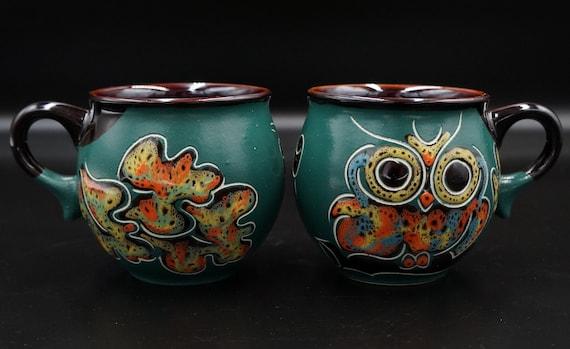 Set of 2 handmade ceramic mugs 6.5 oz green owl handmade tea cups Espresso cup ceramic Carved and painted mugs