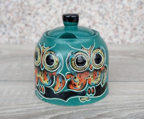 Owl gift for me Ceramic sugar bowl with lid Pottery lidded container Sugar container Kitchen storage Honey pot jar
