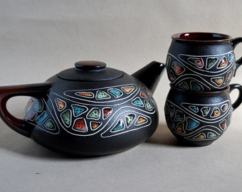 Gift for her Wedding gift Ceramic tea set New home gift Stoneware tea service Functional pottery tea set with 2 cups Rustic wedding