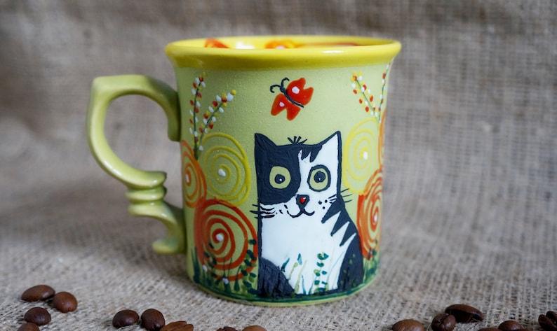 Were all mad here Cute mugs Cheshire cat mug Handmade ceramic coffee cup Alice in wonderland