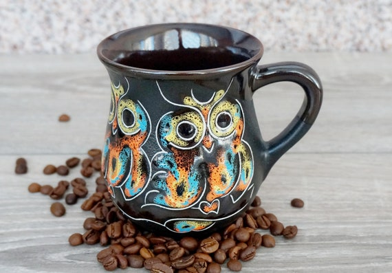 Owl gifts for friend moving away owl hand painted ceramic mug pottery 9.5 oz forest mug owl decor