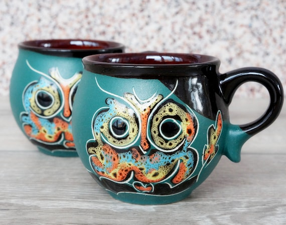 christmas owl gift for wife mug ceramic pottery espresso cup 6.5 oz textured painting set of two