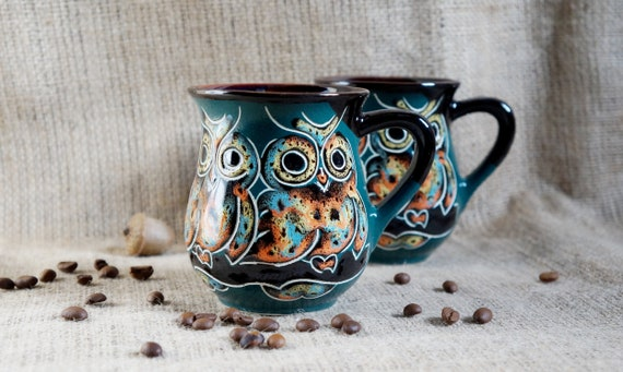 owl gift for women mug ceramic pottery rustic mug owl mug pottery spring gifts for mom birthday gift for sister in law