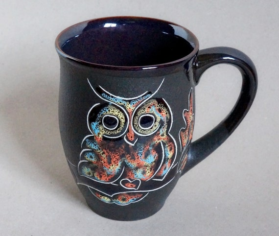 pottery mug handmade ceramic mug owl 16 oz christmas gifts for her birthday textured painting coffee mug oak leaf