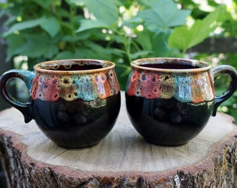 Grandma gift for wife Coffee gift for sister Ceramic mug set of 2 Gift set Rainbow Stoneware mug Tea cup Coffee accessories Gift for sibling