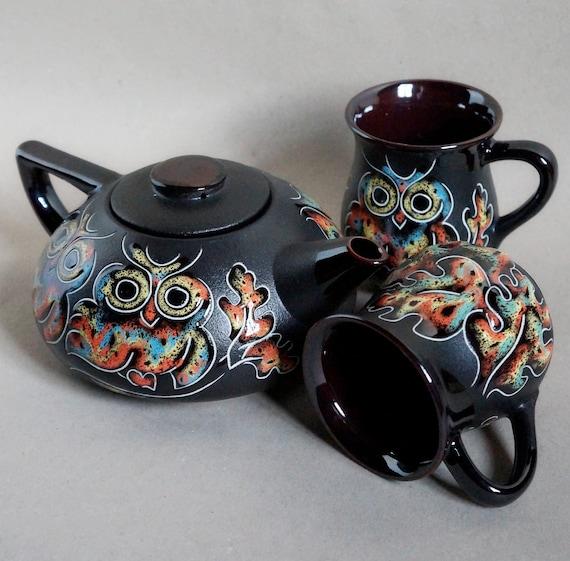 Tea service New home gift Owl painting Owl tea set ceramic Whimsical teapot set Mother day gift Stoneware pottery Tea set black CeramaStudio