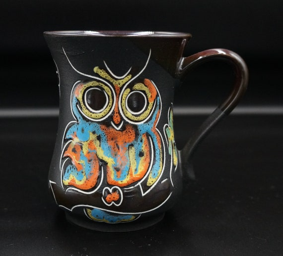 Black owl mug ceramic 11.8 oz Stoneware coffee mug pottery Gift for sister birthday Oak leaf mug for women gift