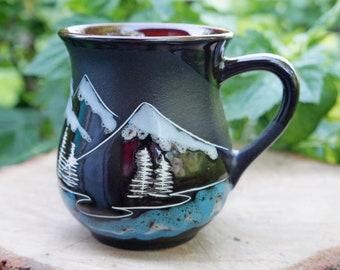 mountain mug ceramic him or her mug hiking gift adventure awaits ceramic mug hand-painted