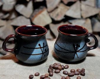 Ceramic coffee mug Set of 2 Black-grey mugs Birthday husband gift to groom Wife gift for newlyweds Espresso cup Small gifts Coffee set