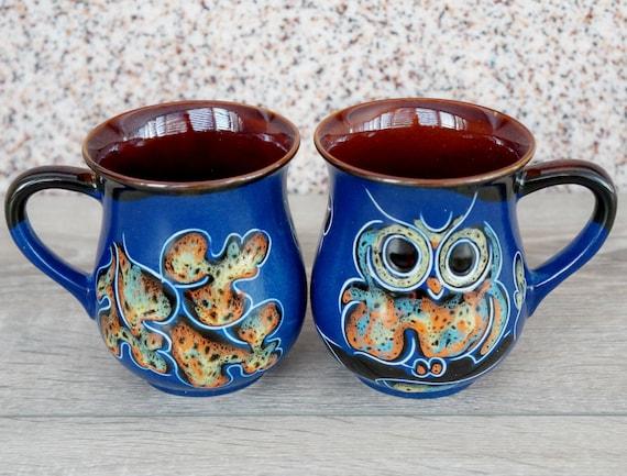 owl gift for women mug ceramic rustic mug blue owl mug pottery spring gifts for mom birthday gift for sister in law