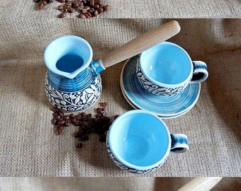 Birthday gift for wife, Bridesmaid gift ideas, Turkish coffee set ceramic coffee pot and two coffee cups and saucers, Blue gifts for her