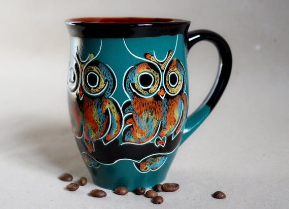large coffee mug owls ceramic mug wife mug green mug pottery owl gifts speckled mug gift for sister in law birthday gift