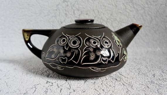 Owl teapot rustic kitchen decor Gift for wife Teapot ceramic Rustic teapot clay tea pot Gift for mother Tea party gift women Wedding gift