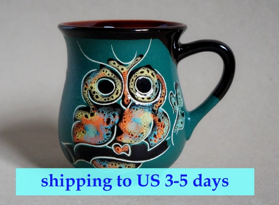 Christmas gift, Bird mug stoneware, Handmade ceramic mug owls, Dark green coffee tea mug, Embossed pattern, Gift for mom mug, CeramaStudio