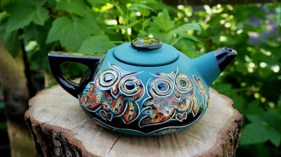 Ceramic teapot Owls Clay teapot ceramic pottery Moms gift Kitchen art funny Green teapot Halloween gifts for sister christmas gifts for wife