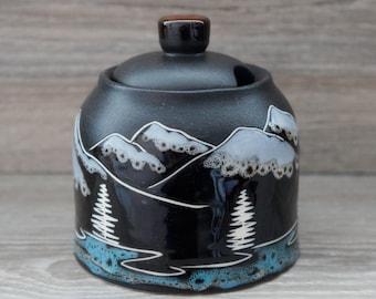 Handmade pottery sugar bowl Lidded jar Mountain ceramic jar storage Small kitchen gift Mountains birthday gift