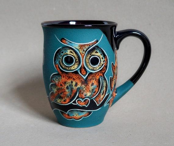 Ceramic mug - Owl - Large coffee mug for women - Coffee cup - Mom gift - Green - Owls mug - Oak leaves - Stoneware mug - CeramaStudio