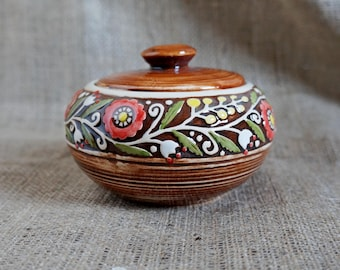 Sugar bowl ceramic Fall gift Rustic gifts Pottery sugar pot Stoneware jam pot Kitchen canister Candy jar Lidded bowl Home gift Bowl with lid