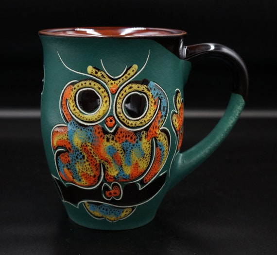 handmade ceramic mug owl large coffee mug for women coffee cup mom gift green owls mug oak leaves stoneware mug ceramastudio
