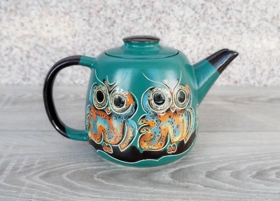 Housewarming owl gift ceramic teapot 33.8 oz Green pottery tea pot owls gifts for wife birthday