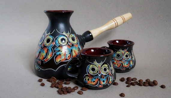 coffee serving set owl ceramic turkish coffee pot & 2 cups unique gift for her birthday wife gift daughter gift wedding gift ideas