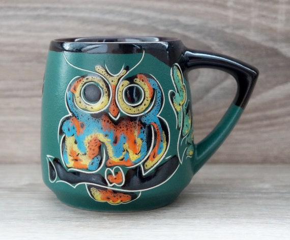 Funny owl gift/ Green owl mug ceramic 14 oz / Handmade pottery mug/ Green forest coffee mug handpainted / Owl gifts for women