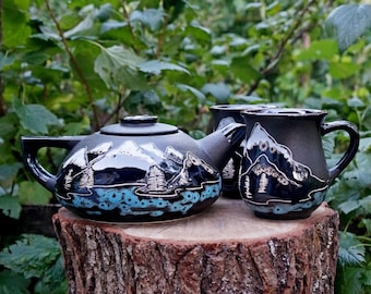 Moving-gift-for-sister-in-law-birthday-gift-for-him-Mountain-set-Ceramic-tea-set-with-two-mugs-First-home-gift-ideas-for-men-Mountains